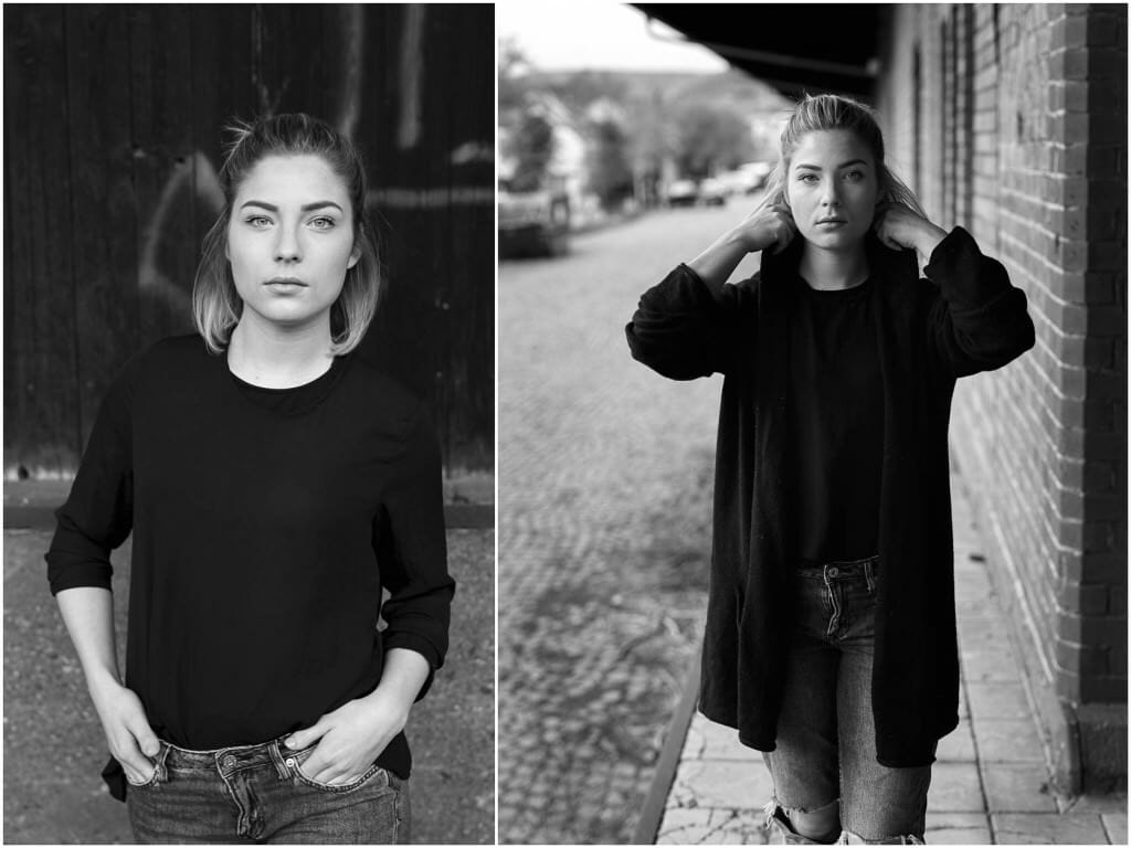 Fashion Editorial Black and White Street simple plain Einfach Backsteinwand Grafitti Neustadt