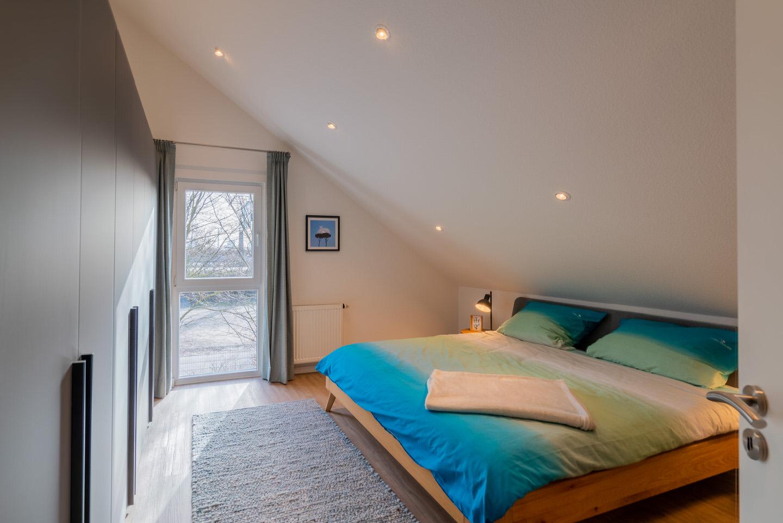 Objektfotografie Musterhaus Mannheim Immobilienfotografie Innenraumaufnahmen Schlafzimmer